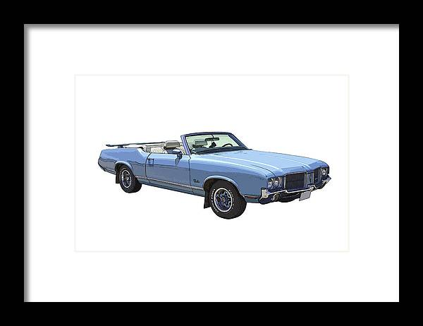 1971 Oldsmobile Cutlass Framed Print featuring the photograph Blue 1971 Oldsmobile Cutlass Supreme Convertible by Keith Webber Jr