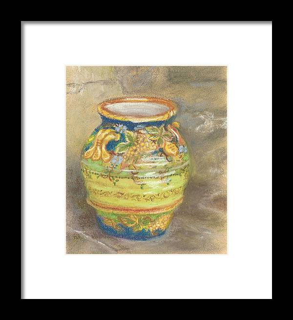 Miniature Pastel Painting Framed Print featuring the painting Blue And Gold Italian Pot by Harriett Masterson