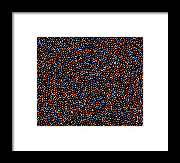 Blue Framed Print featuring the digital art Blue And Orange Circles by Janice Dunbar