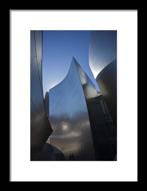 Architecture Framed Print featuring the photograph Blue and Silver Curves 1 by Geoff Scott