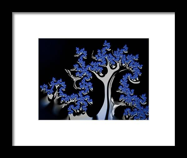 Blue Framed Print featuring the digital art Blue And Silver Fractal Tree Abstract Artwork by Matthias Hauser