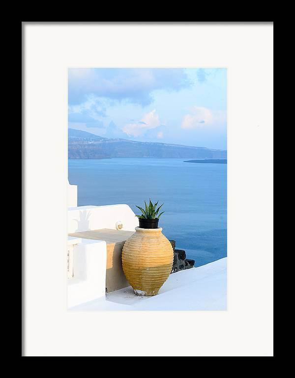 Greece Framed Print featuring the photograph Blue And White by Zoomclickboom Studio