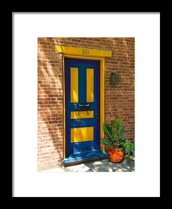 Blue Framed Print featuring the photograph Blue And Yellow Door by Terry DeHart