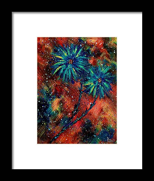 Flowers Framed Print featuring the painting Blue Asters by Robin Monroe