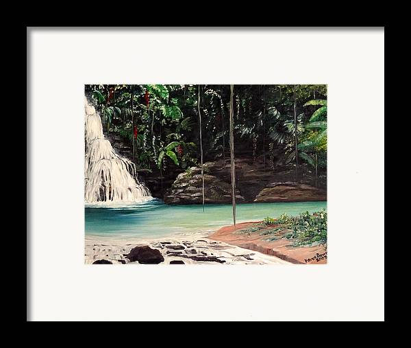 Tropical Waterfall Framed Print featuring the painting Blue Basin by Karin Dawn Kelshall- Best