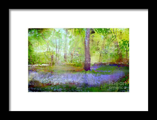 Digital Framed Print featuring the digital art Blue Bells In The Wood Painting Number 1 by George Sneyd