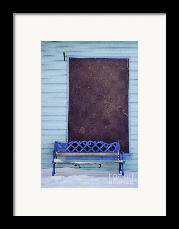 Bench Framed Print featuring the photograph Blue Bench by Priska Wettstein
