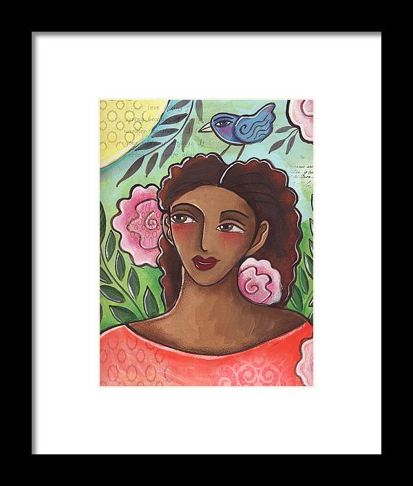 Woman Framed Print featuring the painting Blue Bird Of Happiness On My Head by Elaine Jackson
