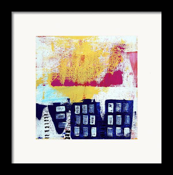Abstract Urban Landscape Framed Print featuring the painting Blue Buildings by Linda Woods