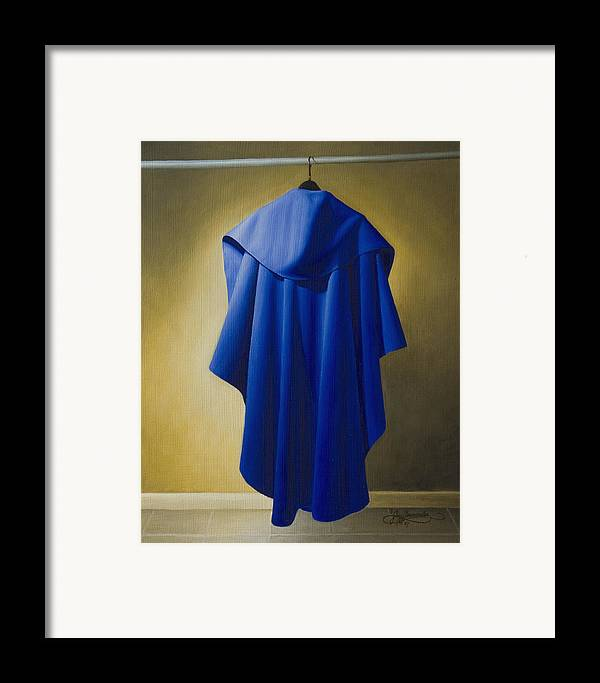 Realism Framed Print featuring the painting Blue Cape by Gary Hernandez