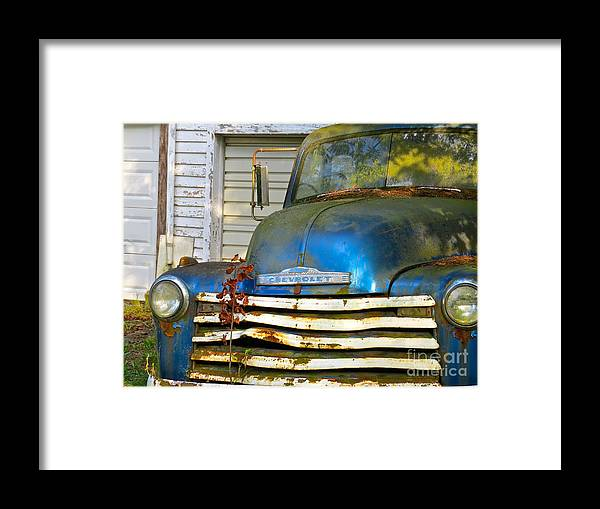 Blue Pick Up Truck Framed Print featuring the photograph Blue Chevy  by Nancy Patterson