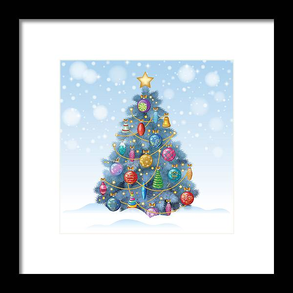 Colorful Christmas Tree Vector.Blue Christmas Tree With Colorful Ornaments Vector Illustration Framed Print
