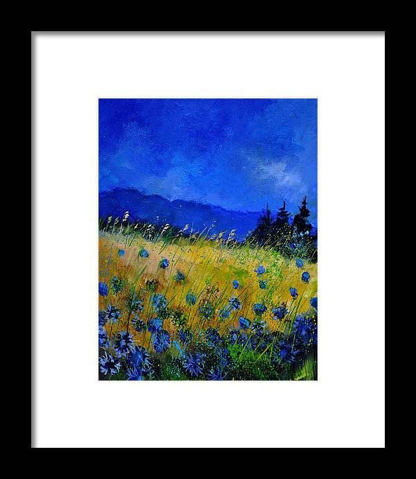Flowers Framed Print featuring the painting Blue Conflowers 454150 by Pol Ledent