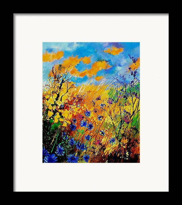 Poppies Framed Print featuring the painting Blue Cornflowers 450408 by Pol Ledent