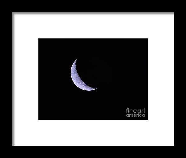 Crescent Moon Framed Print featuring the photograph Blue Crescent Moon by Scott Cameron