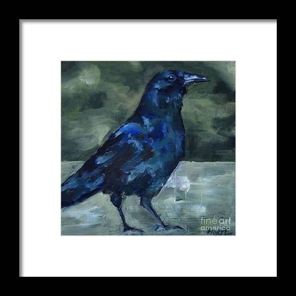 Blackbird Framed Print featuring the painting Blue Crow by Deb Mortl