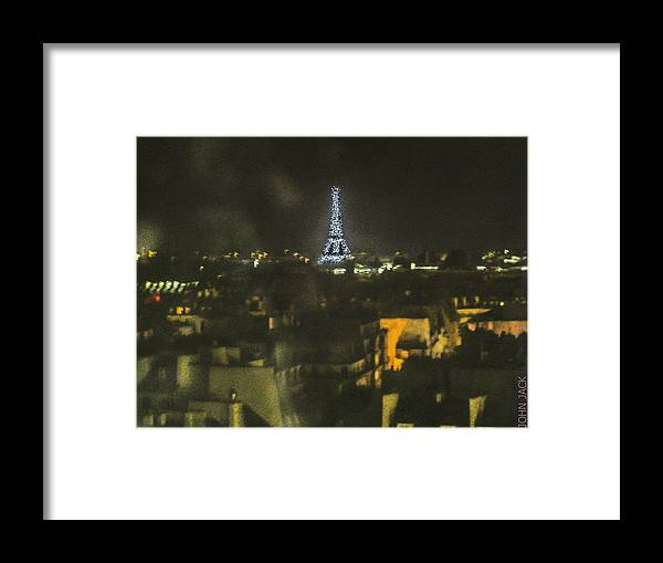 Paris Framed Print featuring the photograph Blue Eiffel At Night by John Jack