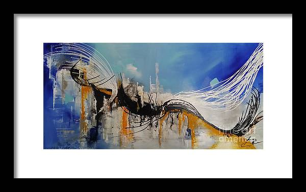 Abstract Art Framed Print featuring the painting Blue Emotions by Julijana Ravbar
