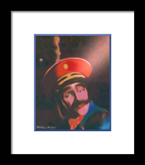 Clown General Blue Framed Print featuring the digital art Blue Eyed General by Paul Caputo