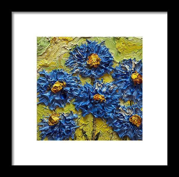 Blue Flower Print Framed Print featuring the painting Blue Flower Cluster II by Paris Wyatt Llanso