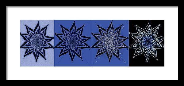 Blue Framed Print featuring the digital art Blue Flowers by Cheryl Rogers