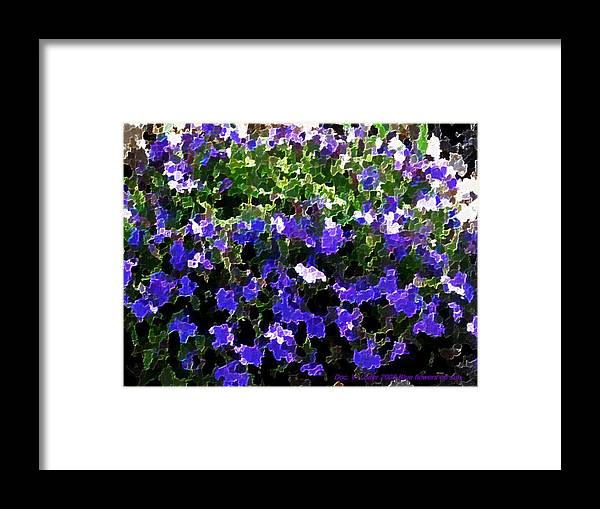 Blue.flowers.green Leaves.happiness.rest.pleasure.mosaic Framed Print featuring the digital art Blue Flowers On Sun by Dr Loifer Vladimir