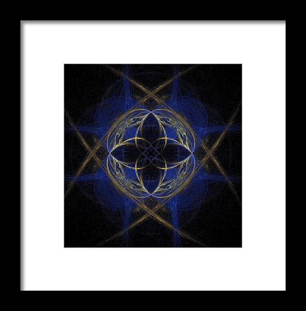 Blue Framed Print featuring the painting Blue Fractal Cross by Bruce Nutting