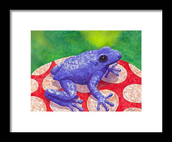 Frog Framed Print featuring the painting Blue Frog by Catherine G McElroy