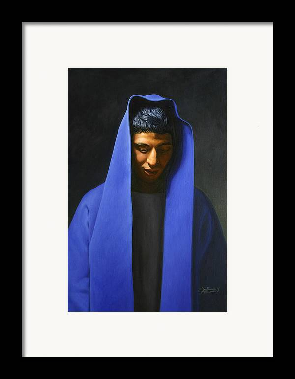 Blue Framed Print featuring the painting Blue by Gary Hernandez
