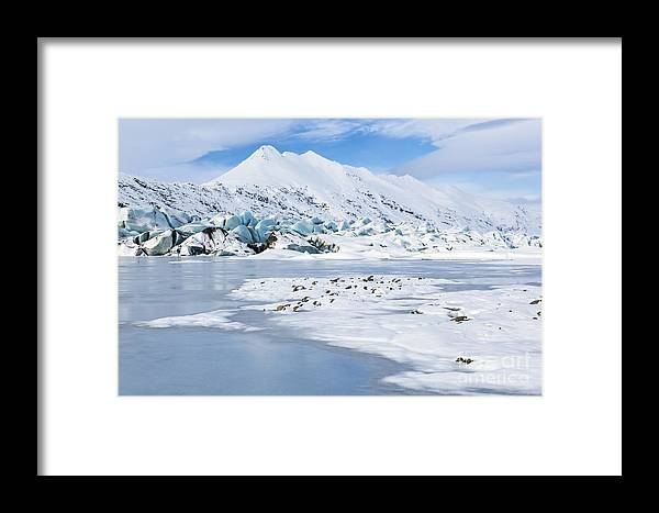 Clouds Framed Print featuring the photograph Blue Glacier White Mountain by Colin D Young