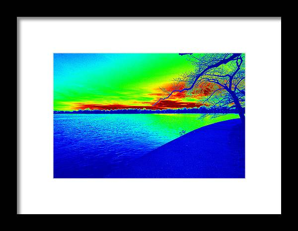 Blue Green River Framed Print featuring the digital art Blue Green River by Anne Barkley