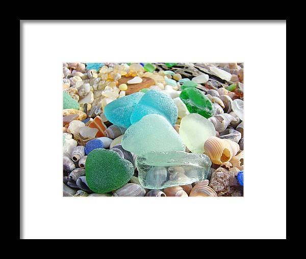 Seaglass Framed Print featuring the photograph Blue Green Sea Glass Beach Coastal Seaglass by Patti Baslee