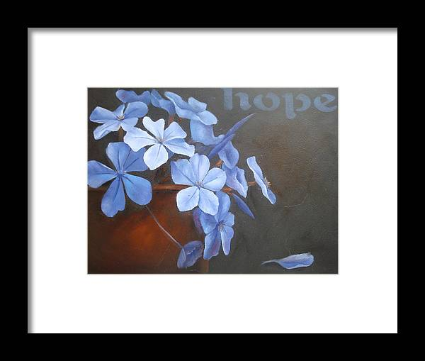 Flower Framed Print featuring the painting Blue Hope by Sharron White