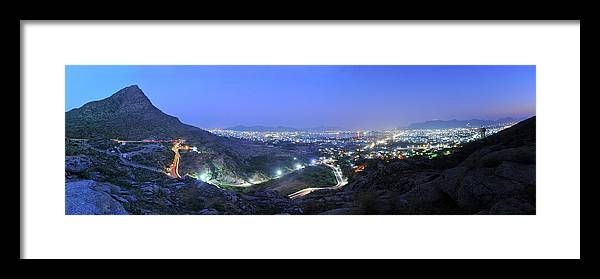 Scenics Framed Print featuring the photograph Blue Hour Ajmer City Panorama by Nimit Nigam