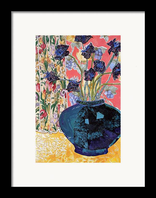 Flowers In A Vase Framed Print featuring the mixed media Blue In Blue by Diane Fine