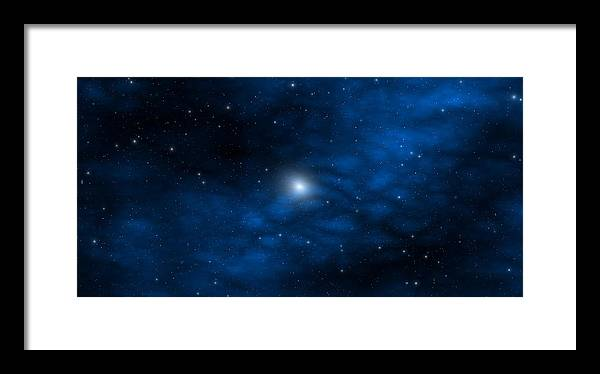 Space Framed Print featuring the digital art Blue Interstellar Gas by Robert aka Bobby Ray Howle