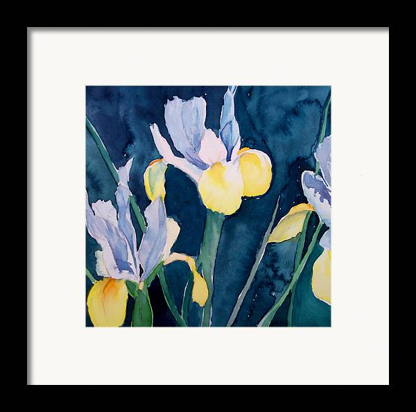 Flowers Framed Print featuring the painting Blue Iris by Philip Fleischer