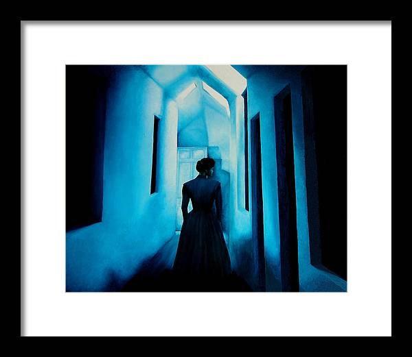 Oil Painting. Lady.blue Lady. Blue . Surreal Impressionism Framed Print featuring the painting Blue Lady In The Hall by Ivan Rijhoff