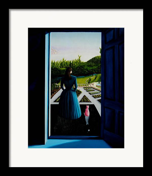 Oil Painting.blue Lady. Garden. Surreal Impressionism Framed Print featuring the painting Blue Lady Thru The Door by Ivan Rijhoff