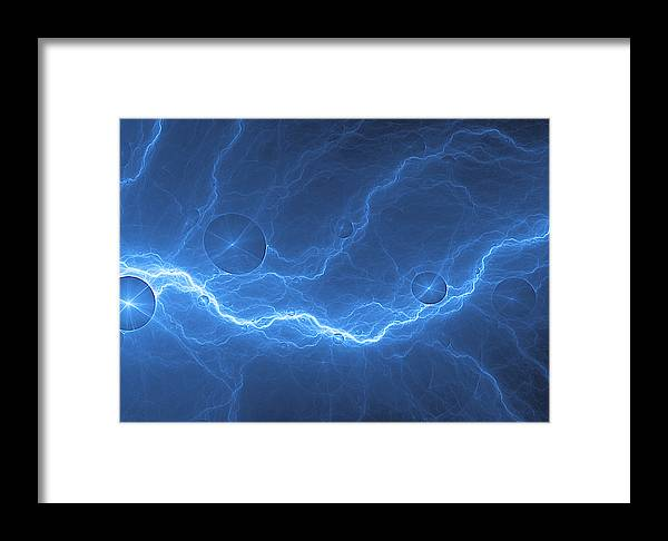 Blue Lightning Abstract Electric Background Framed Print