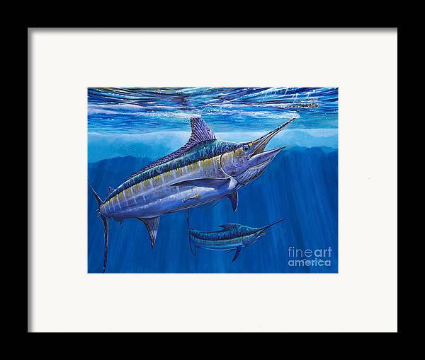 Blue Marlin Framed Print featuring the painting Blue Marlin Bite Off001 by Carey Chen