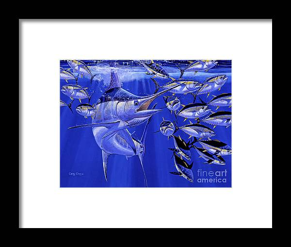Blue Marlin Framed Print featuring the painting Blue marlin round up Off0031 by Carey Chen
