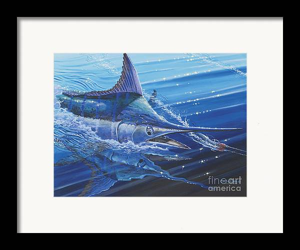 Blue Marlin Framed Print featuring the painting Blue Marlin Strike Off0053 by Carey Chen