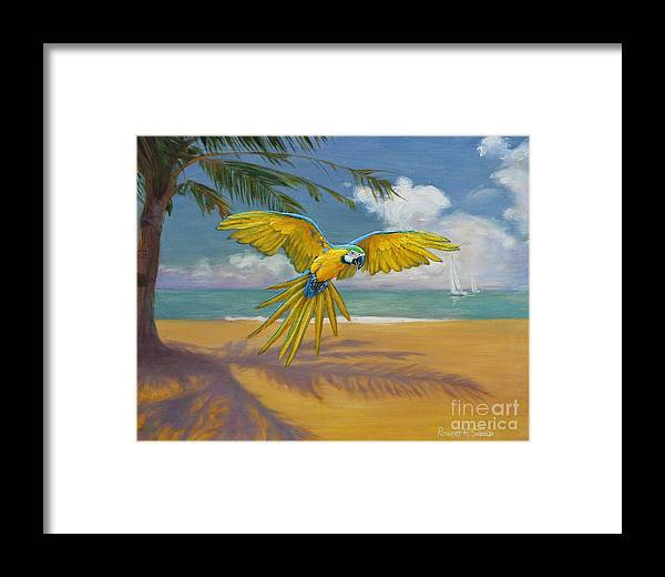 Ocean Framed Print featuring the painting Blue Mccaw by Robert H Sibold