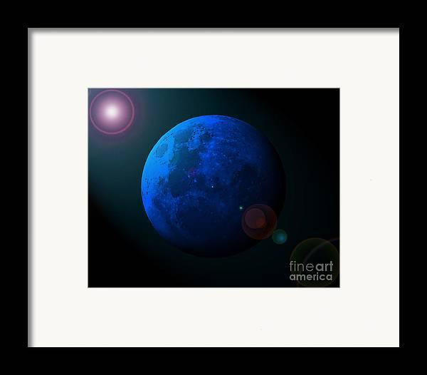Moon Framed Print featuring the photograph Blue Moon Digital Art by Al Powell Photography USA