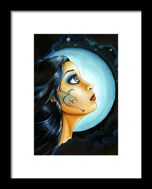 Fantasy Art Framed Print featuring the painting Blue Moon Goodess by Elaina Wagner
