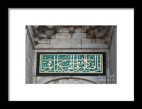 Istanbul Framed Print featuring the photograph Blue Mosque Calligraphy by Rick Piper Photography