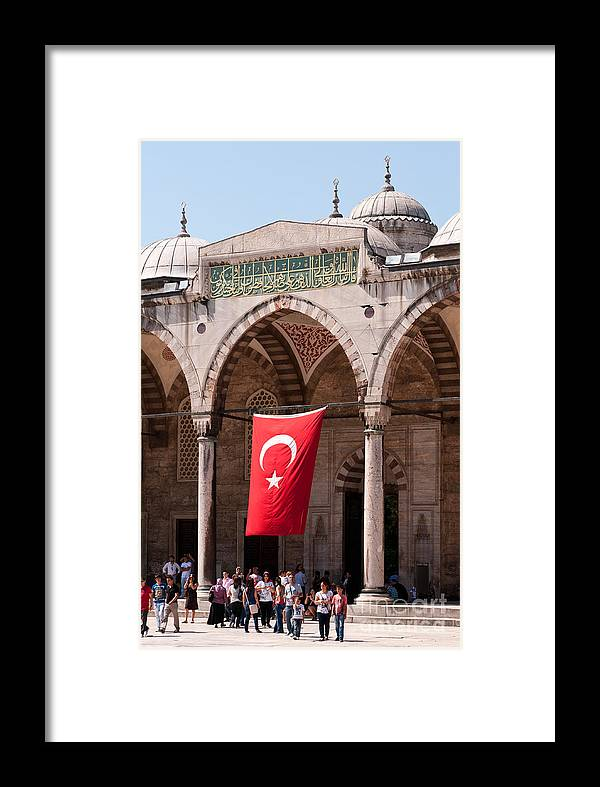 Istanbul Framed Print featuring the photograph Blue Mosque Courtyard Portico by Rick Piper Photography