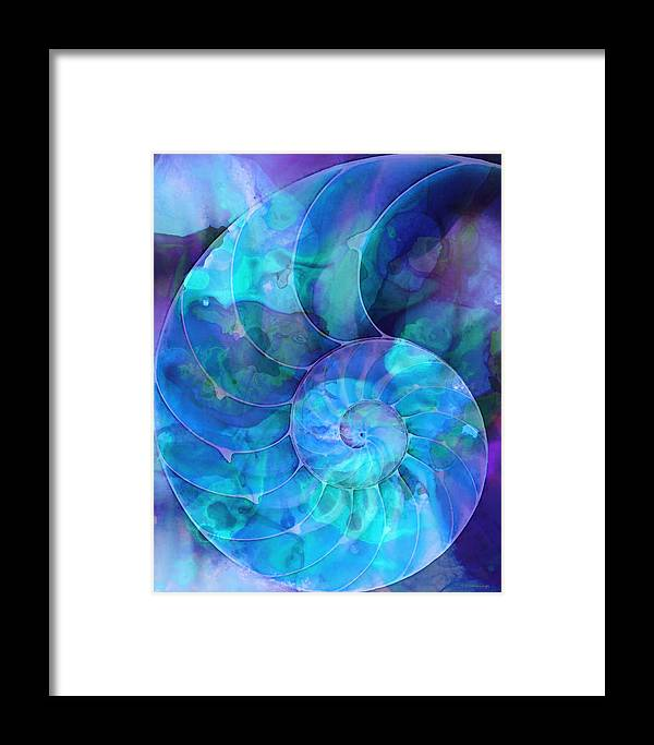 Blue Framed Print featuring the painting Blue Nautilus Shell By Sharon Cummings by Sharon Cummings