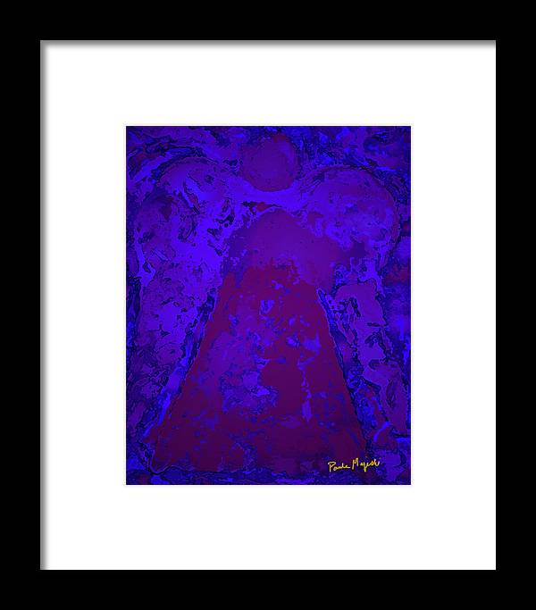 Angel Framed Print featuring the digital art Blue Night Angel by Paula Majeski